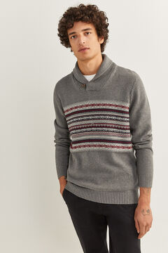 Springfield JACQUARD SHAWL NECK JUMPER grey