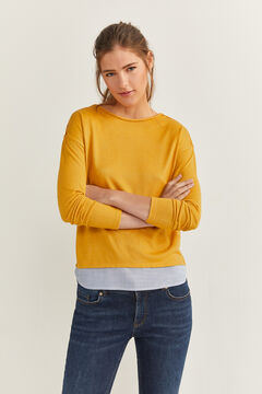Springfield Two-Material Plaited Detail T-shirt yellow