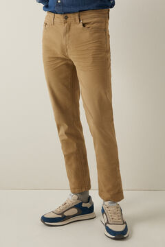 Springfield Slim fit washed 5-pocket trousers stone