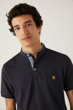 Springfield Slim fit mandarin comfort polo shirt blue