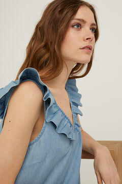 Springfield Denim top with ruffle steel blue