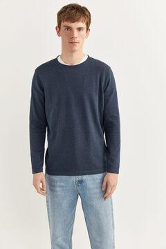 Springfield Melange cotton jumper with elbow pads bluish