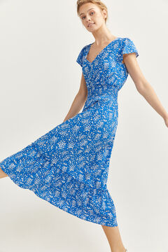 Springfield Long printed dress  steel blue