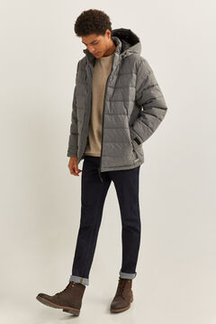 Springfield TEXTURED QUILTED JACKET WITH REMOVABLE HOOD gray