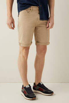 Springfield 5 pocket slim distressed Bermuda shorts camel