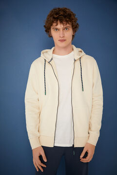 Springfield Essential zip-up sweatshirt natural