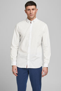 Springfield Printed cotton shirt white