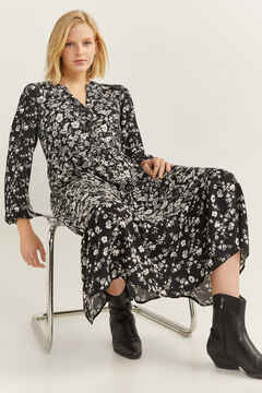 Springfield Two-Tone Floral Midi Dress black