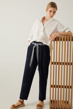 Springfield Linen trousers with belt indigo blue