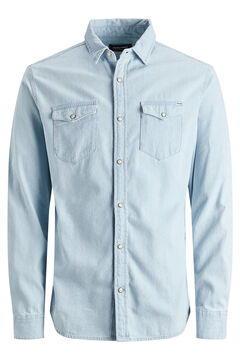 Springfield Cotton denim shirt  steel blue