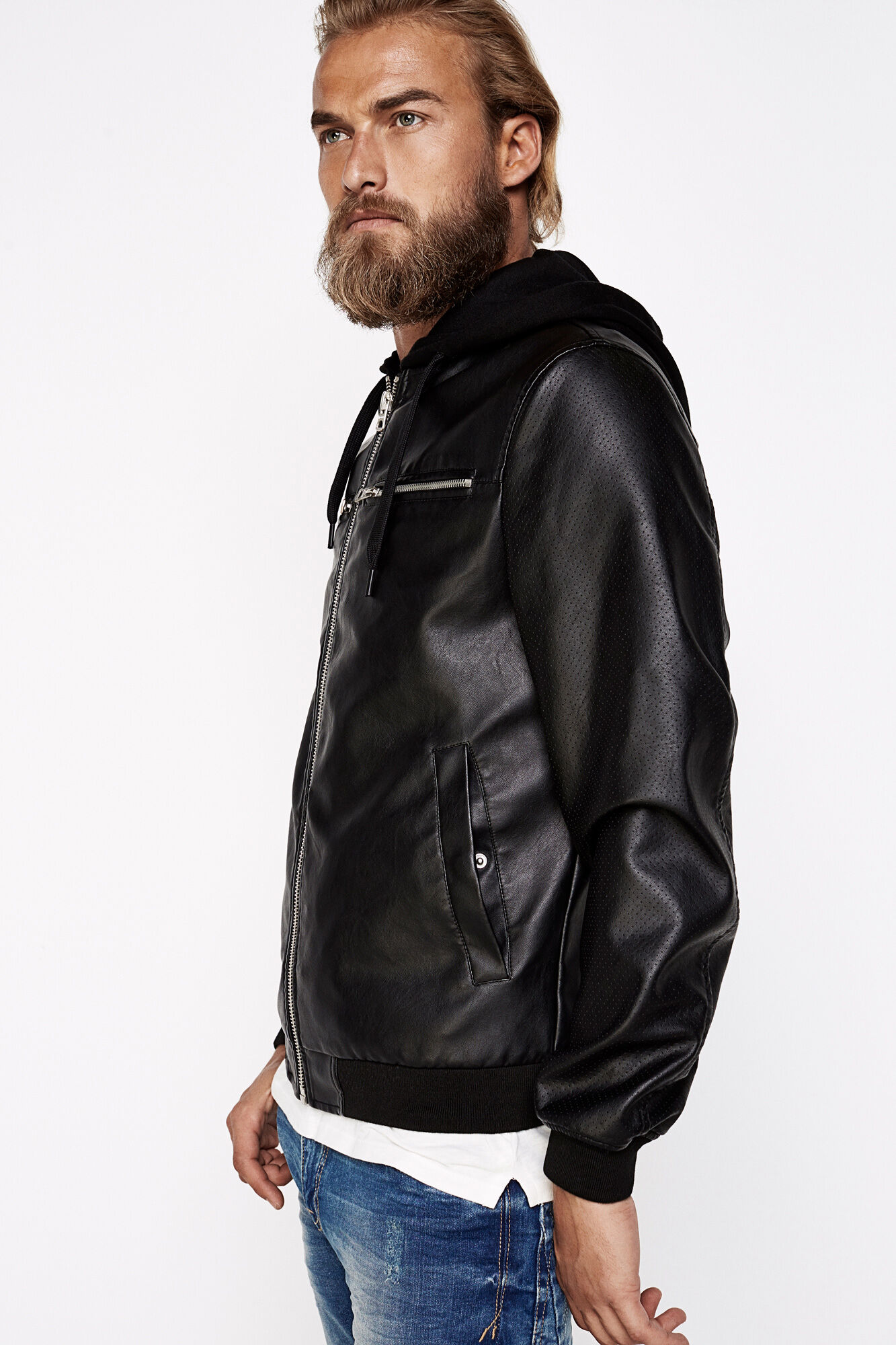 IMITATION LEATHER BOMBER JACKET WITH DETACHABLE HOOD | Bombers ...