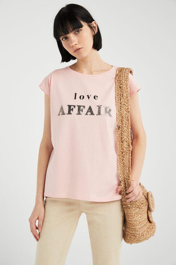 596a4c02cfad3 Springfield Camiseta texto gráfico rosa