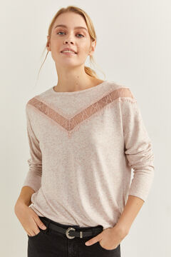 Springfield Soft Feel Lace V T-Shirt natural