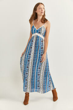 Springfield Long floral borders dress blue