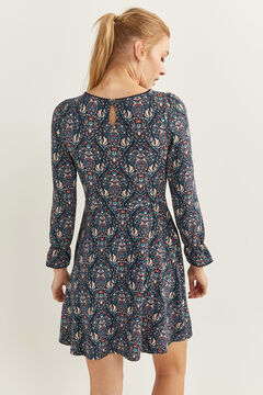 Springfield Short Ikat Print Dress blue