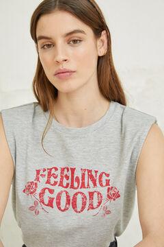 Springfield Graphic print shoulder pads t-shirt grey