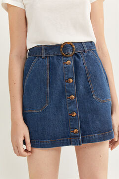 Springfield Denim Skirt Belt Buttons blue