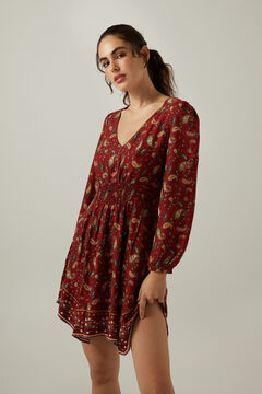 Springfield Printed sustainable viscose dress deep red