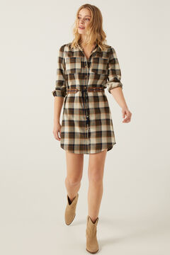 Springfield Checked Shirt Dress indigo blue