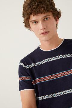 Springfield Short-sleeved jacquard jumper blue