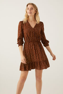 Springfield Sustainable viscose crossover dress brown