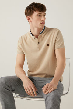 Springfield Cotton/linen textured polo shirt camel