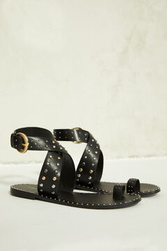 Springfield Black leather sandal with studs black