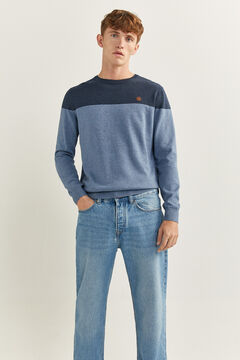 Springfield COLOUR BLOCK MELANGE JUMPER steel blue