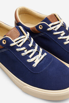 Springfield Lace-up sneaker in split leather bluish