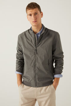 Springfield Stand-up collar textured technical jacket grey