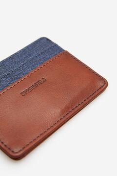 Springfield Tarjetero combinación de tejidos azul