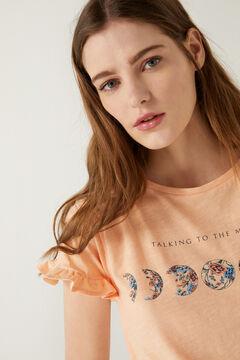 Springfield Flounced sleeve graphic t-shirt terracotta