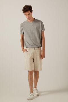 Springfield Two-tone rustic linen Bermuda shorts camel