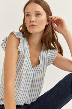 Springfield STRIPED BLOUSE WITH RUFFLE SLEEVES bluish