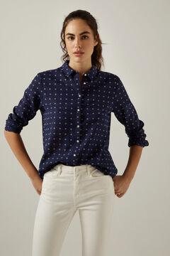 Springfield Embroidered polka-dot organic cotton shirt indigo blue