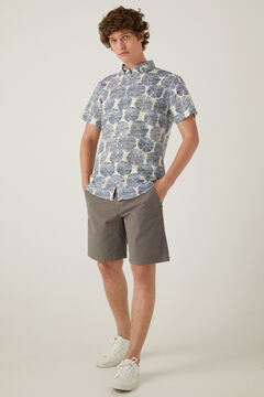 Springfield Printed linen shirt navy mix