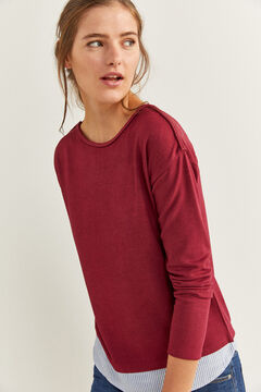 Springfield Two-Material Plaited Detail T-shirt red