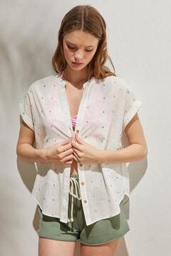 Springfield Organic cotton plumetis blouse medium beige