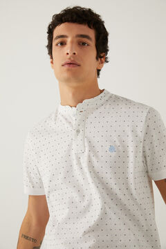 Springfield All-over print slim fit mandarin collar polo shirt natural