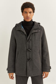 Springfield SHORT WOOL BLEND PARKA WITH RECYCLED DUPONT™ SORONA® padding grey mix