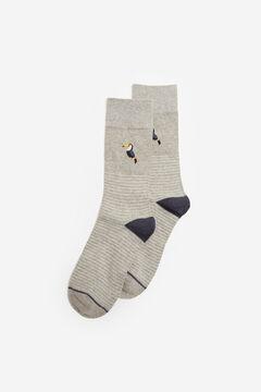 Springfield Jacquard, csíkos zokni szörfmintával szürke