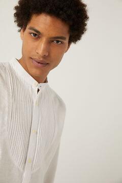 Springfield Camisa lino jaretas blanco