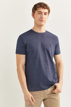 Springfield Embroidered micro striped t-shirt bluish