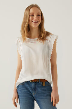 Springfield Two-material lace trim shoulders t-shirt ecru