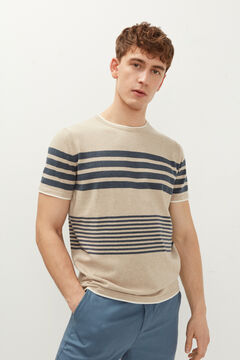 Springfield Jersey-knit striped t-shirt camel