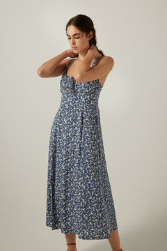 Springfield Floral gathered neckline midi dress  steel blue