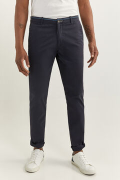 Springfield SLIM FIT WELT WAISTBAND CHINOS blue