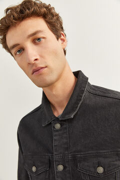 Springfield WASHED BLACK STRETCH DENIM JACKET. black