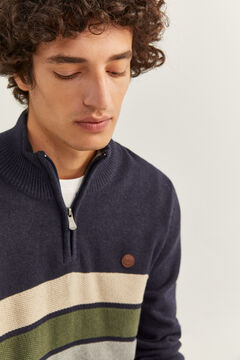 Springfield STRIPED ZIP-UP NECK JUMPER blue