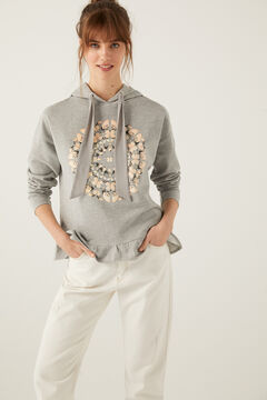 Springfield Two-Material Butterflies Hooded Sweatshirt grey